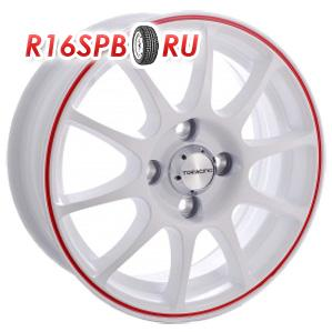 Литой диск TG Racing D001 6x15 5*114.3 ET 45 WHITE RED RING