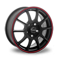 TG Racing D001 6.5x16 5*100 ET 45 dia 60.1 MATT BLACK RED RING
